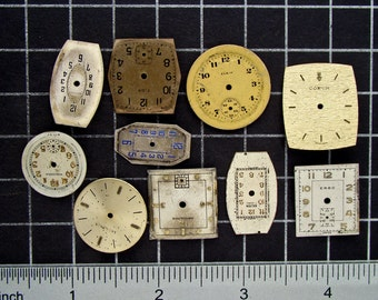 Mixed Lot of 10 Vintage round and Square Watch Faces, Dials, Clock Fronts, Painted or Enameled Pocket Watch Faces Steampunk Supplies 04178