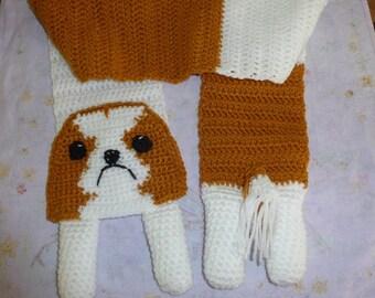 English Toy  or cavalier king charles spaniel  dog crochet scarf
