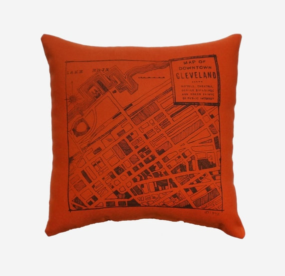 Downtown 1942 Cleveland Map, on Burnt Orange Throw Pillow - 13''x13''