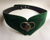 Fantasy Folk Belt Green with Metal floral ornamented heart Whimsical  Pirate Elf Oktoberfest / Size S