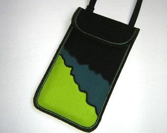 iPhone 6 Plus Case small crossbody bag Cellphone Neck Pocket Smartphone Purse cute mini Sling Bag mix fabrics green black