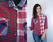 1990s Vintage Grunge Colorblock Flannel Plaid Button-Down Long Sleeve Collared Blouse Shirt / 90s Color Block Red & Blue Top / Small S 4 5 6