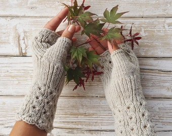 Elegant Fingerless Gloves, Cables and Lace Pattern, Color Sand