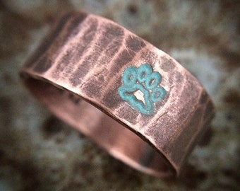 Paw Print Ring in Rustic Hammered Copper & Turquoise Patina - Personalized Custom Stamped Pet Memorial Jewelry For Dogs or Cats