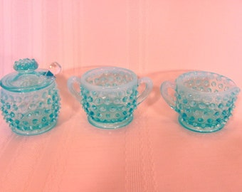 Fenton Blue Hobnail Creamer Sugar and Jam Jar with Spoon