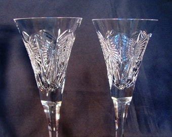 Waterford Wedding Toasting Flutes / Happiness Crystal Champagne Toasting Flutes