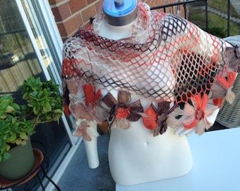 SALE!! Elegant Shawl Wrap Neckwarmer Handmade Shawl Triangular Net Floral Shawl Chic Multicolor Versatile Shawl FRee Shipping in Cntl. USA