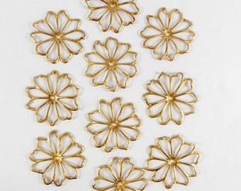 Brass Flower, Open Flower, Open Petals, RawBrass , Beading Supplies, Drilled, US Made, Nickel Free, Bsue Boutiques, 36mm, Item08238