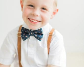 Navy Blue Floral Bow Tie for boys and Tan Leather (pu) Suspenders SET, choose size  to fit ages 2-15years, ships FREE