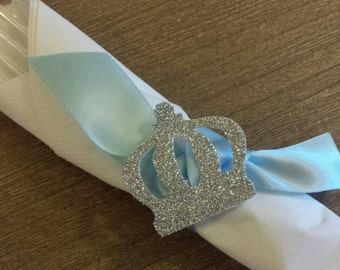 Royal Little Prince Baby Shower Birthday Party Ribbon Napkin Rings (12) Custom Made to Match