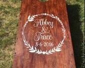 Wedding Cornhole Decals   Rustic Wedding Decor   Personalized Wedding Wreath   Decals for Corn hole Game