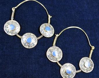 Vintage Afghani Style Large Hoop Earrings Blue Boho Gypsy Tribal Belly Dance Uber Kuchi®