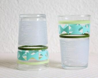 Vintage Geometric Pattern Mid Century Juice Glasses, Set of 2