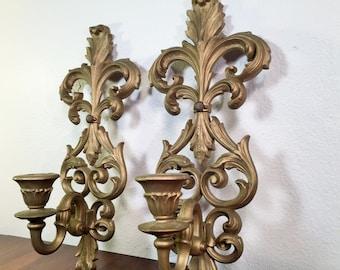 Antique Gold SCONCES Hollywood Regency
