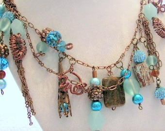 Copper and Aqua Artisan Necklace, Statement Necklace,  Copper Necklace,  Asymmetrical Dangling Chain and Beaded Necklace, Mother's Day Gift