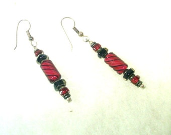 Vintage  Burgundy and Black Cane Glass Earrings - No. 1656
