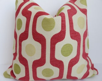 20x20 Pillow cover- Green Red Pillow - Green Yellow Pillow - Geometric pillow - Pillow Cover - Lime Green Pillow- Yellow Pillow - Red Pillow