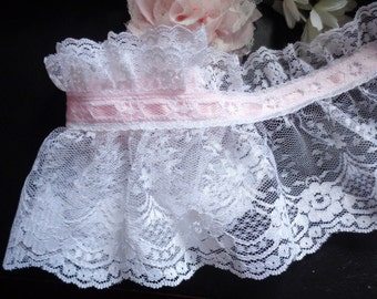 Ruffled Lace with Ribbon, 5 inch selling by the yard