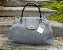 Overnight Bag, Tweed Carpet Bag, small Mary Poppins bag, denim blue herringbone tweed bag.
