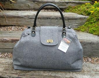 Overnight Bag, Tweed Carpet Bag, Mary Poppins bag, denim blue herringbone tweed bag.