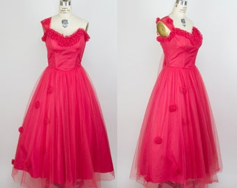 1950s Dress // Bright Coral Tulle One Strap Strapless Full Skirt Formal Party Dress