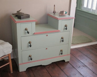 Victorian Dresser Repainted Rose Trim and Pistachio Original Hardware Shabby Chic Farmhouse Bedroom