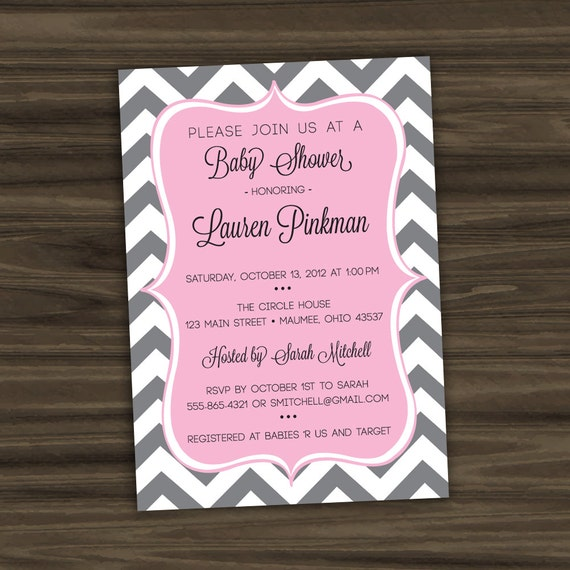 Chevron Baby Shower Invitation - Print Your Own - Personalized Digital File - Color Options