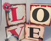 LOVE blocks Valentine Blocks Valentine Shelf Sitters Ready to Ship