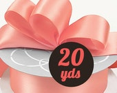 "Satin Strawberry Coral Ribbon - 7/8"" wide at 20 yards"