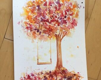Watercolor Print, Tree, Landscape, Fine Art, Floral, Modern Art, Ink, Minimalist, Garden Floral, Abstract Art, Bohemian