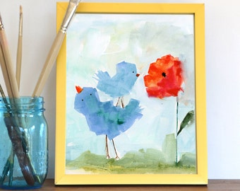 Watercolor Floral Print, Abstract Art Print, Birds, Flowers, Landscape Painting, Modern Art, Expressionist, Minimalist, Bohemian