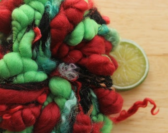 Christmas Chaos - Merino Handspun Coiled Art Yarn Red Black