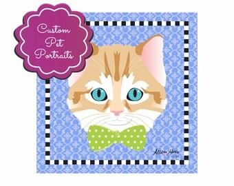 Custom Pet Animal Portrait Art Print Illustration Wrapped Canvas 12x12x.75