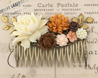 Ivory Wedding Hair Accessories Orange Mustard Yellow Bridal Hair Comb Brown Gold Cream Flower Leaves Woodland Floral Headpiece Rustic WR