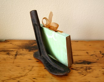 Vintage Cast Iron Shoe Mold Cobblers Shoe Mold Vintage Shoe Form Paper Weight Book End from The Eclectic Interior