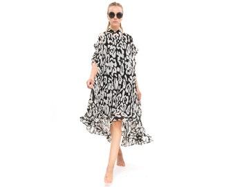 Black and white dress, Wedding Dress,Chiffon dress, prom dress, Oversize Dress, Bridesmaids Dress, Formal dress, Elegant modern dress