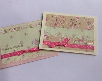 Make A Wish Handmade Card Set, Birthday Card Set, Handmade Birthday Card, Birthday Card, Shabby Card, Floral Card Set