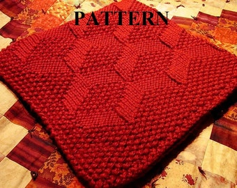 "Knit Baby Blanket Pattern, Chunky Yarn, Baby Blanket Pattern, Knit Blanket Pattern, Knitted Baby Blanket Pattern, Bulky Yarn Blanket, ""baby"""