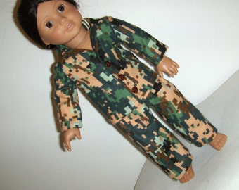 Digital Camouflage  Pajamas , fits American Girl Doll and other 18 inch Dolls