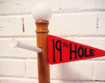Coffee mug tree beer stein storage nineteenth hole golf golfing clubhouse bar vintage good wood sports decor