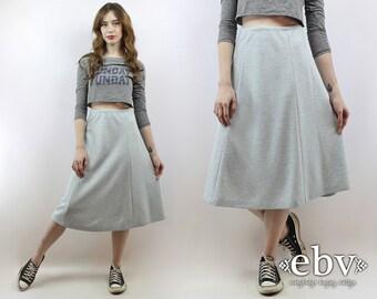 Sweatshirt Skirt High Waist Skirt 80s Skirt Midi Skirt Knee Skirt Pale Blue Skirt Vintage 80s Pale Blue High Waisted Skirt XS S M