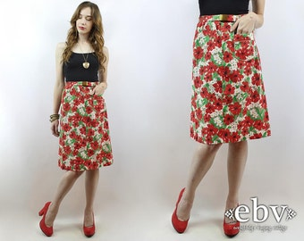 Vintage 70s Floral High Waisted Skirt S M Floral Knee Skirt High Waist Skirt Summer Skirt 1970s Skirt 70s Skirt Red Floral Skirt White Skirt