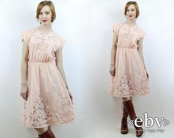 Hippie Wedding Dress Hippie Dress Hippy Dress Blush Pink Dress Summer Dress 1970s Dress Vintage 70s Pale Pink Lace Dress XS S 70s Dress