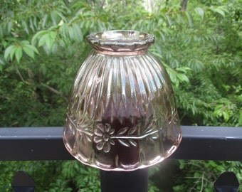 Vintage Pink Pressed Glass Lamp Globe/Shade