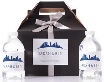 Denver Destination Wedding - 25 Sketched Skyline Wedding Favor Box / Wedding Welcome Boxes with 50 matching Water Bottle Labels