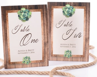 Rustic Wedding Table Number Tent Cards - Rustic Wedding Table Centerpiece - Succulent Wedding Decor - Personalized Wedding Table Tents