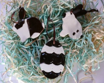 Easter Handmade Ornaments - dark chocolate bunnies and egg