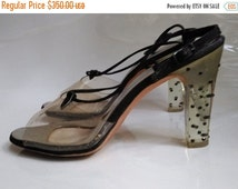 SPRING CLEARANCE SALE Fierce 60s Vintage Lucite Heels Party Pumps-Petite Salon-Size 7-Mod-After 5-Mad Men-Waldorf-Hollywood-High Fashion-Col