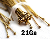 2 inch Raw Brass Ball Pin, 21Ga wire, Brass headpins for jewelry making, 50mm length, 100pc - F422