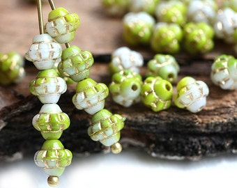 30pc Green and White Bicone beads, Golden Inlays, Czech Republic glass spacer beads - 6mm - 0572